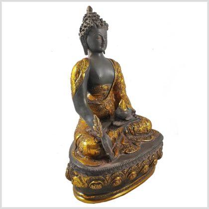 Medizinbuddha 33cm graugold Seitenansicht