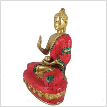 Lehrender Buddha Mosaik rot Seitenansicht Links