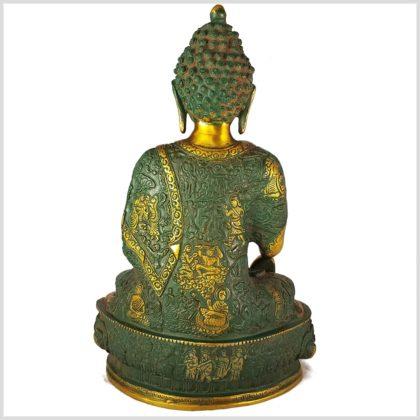 Erdender Buddha Messing Nepalgrün von hinten