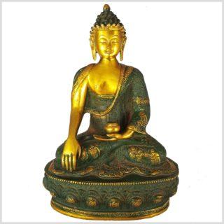 Erdender Buddha Messing Nepalgrün von Vorne
