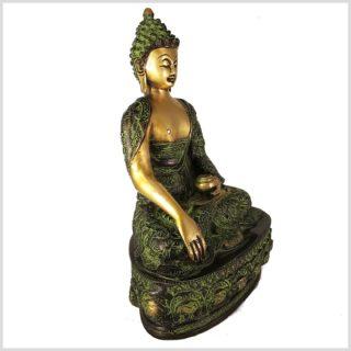 Erdender Buddha Messing Grünantik Seitenansicht