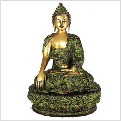 Erdender Buddha Messing Grünantik Frontansicht