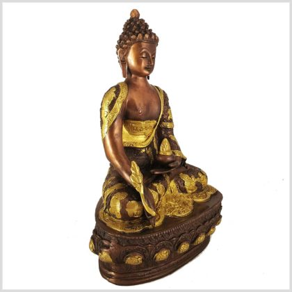 Medizinbuddha Messing verkupfert Seitenansicht