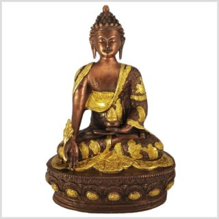 Medizinbuddha Messing verkupfert Frontansicht
