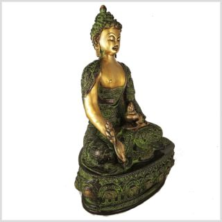 Medizinbuddha Messing Grünantik Seitenansicht