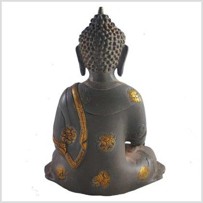 Erleuchteter Buddha aus Messing Hintenansicht
