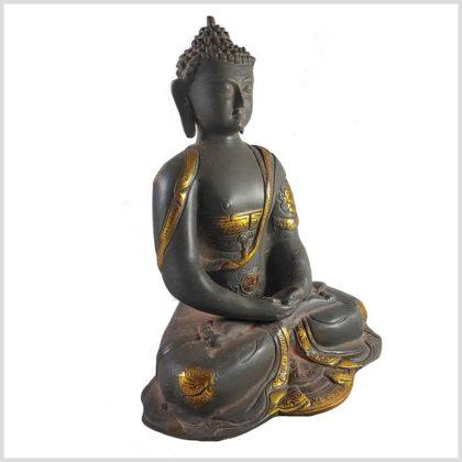 Erleuchteter Buddha aus Messing Seitenansicht rechts