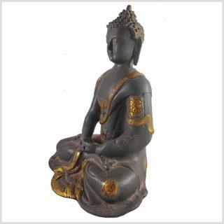 Erleuchteter Buddha aus Messing Seitenansicht links