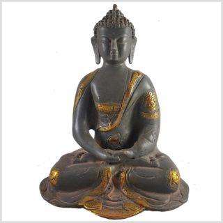 Erleuchteter Buddha aus Messing Frontansicht