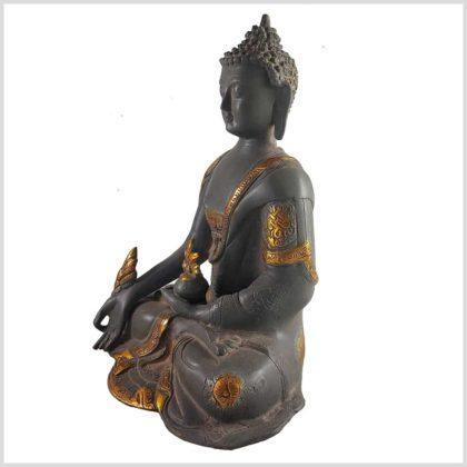 Medizinbuddha 2,8 KG Nepalgrau Asthamangala Seitenansicht Rechts