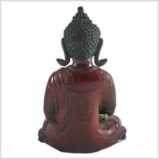 Erleuchteter Buddha 29cm Dhyana Mudra Messing Rotgold Hinten