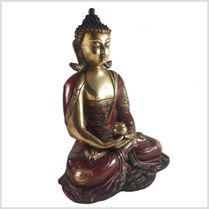 Erleuchteter Buddha 29cm Dhyana Mudra Messing Rotgold Seite links