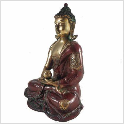 Erleuchteter Buddha 29cm Dhyana Mudra Messing Rotgold Seite