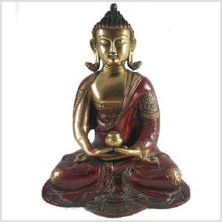 Erleuchteter Buddha 29cm Dhyana Mudra Messing Rotgold Vorne