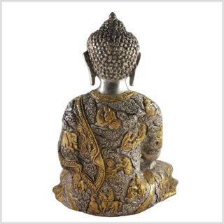 Life Buddha 6KG Erdender Buddha Messing versilbert Rückansicht