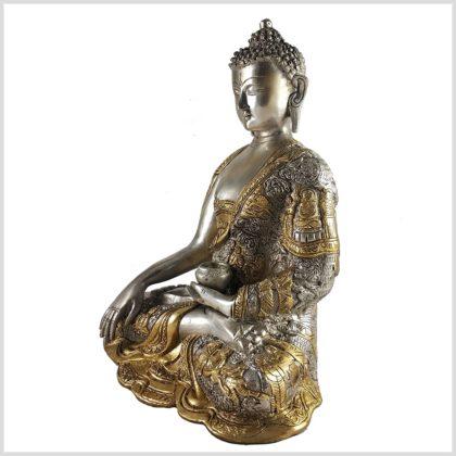 Life Buddha 6KG Erdender Buddha Messing versilbert seitenansicht links