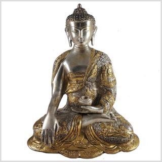 Life Buddha 6KG Erdender Buddha Messing versilbert Frontansicht