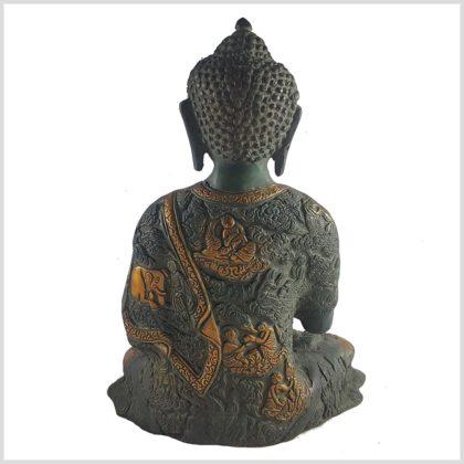 Life Buddha Lehrender Buddha Vitarka Mudra Messing Nepalgrün Antik Rückansicht