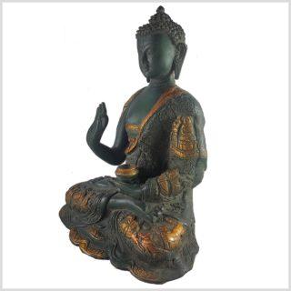 Life Buddha Lehrender Buddha Vitarka Mudra Messing Nepalgrün Antik rechts