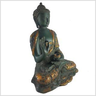 Life Buddha Lehrender Buddha Vitarka Mudra Messing Nepalgrün Antik Seitenansicht links
