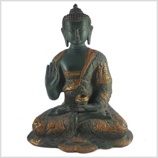 Life Buddha Lehrender Buddha Vitarka Mudra Messing Nepalgrün Antik Frontansicht