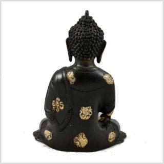 Erdender Buddha 2,8kg Messing schwarzgold Hinten