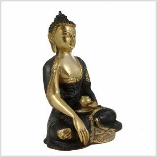 Erdender Buddha 2,8kg Messing schwarzgold Seitenansicht