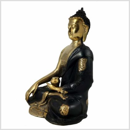 Erdender Buddha 2,8kg Messing schwarzgold Seitenansicht Links
