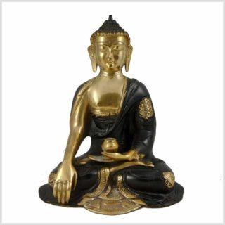 Erdender Buddha 2,8kg Messing schwarzgold Vorderansicht