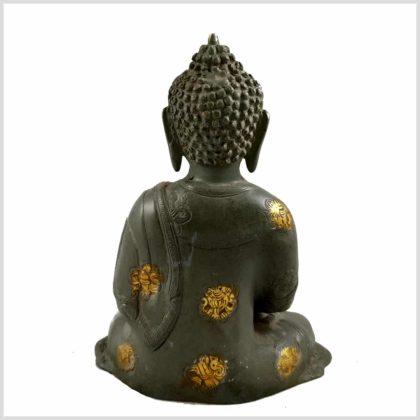 Meditationsbuddha Steingrün Hinten