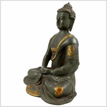 Meditationsbuddha Steingrün Seitenansicht