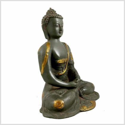 Meditationsbuddha Steingrün Seitenansicht Rechts