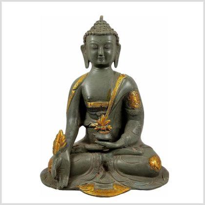 Medizinbuddha Steingrün 25cm Asthamangala Vorderansicht