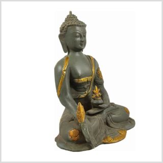 Medizinbuddha Steingrün 25cm Asthamangala Seitenansicht Rechts