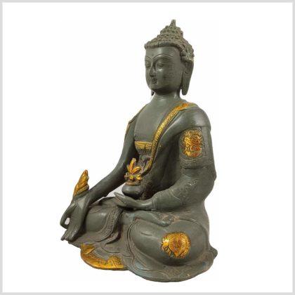 Medizinbuddha Steingrün 25cm Asthamangala Seitenansicht