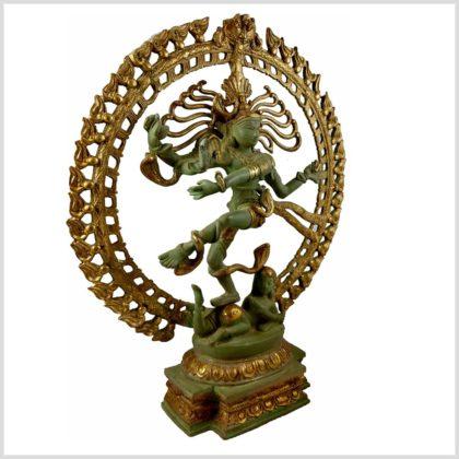 Tanzender Shiva 43cm hoch aus Messing Antikgrün Seitenansicht Links