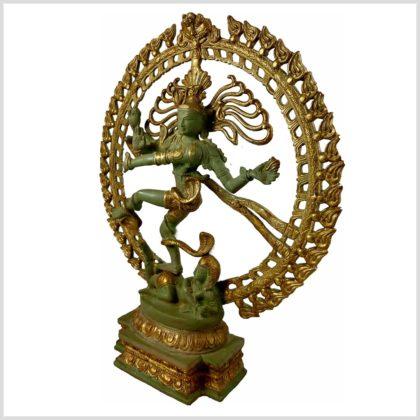 Tanzender Shiva 43cm hoch aus Messing Antikgrün Seitenansicht Rechts
