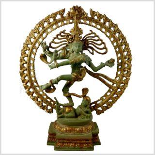 Tanzender Shiva 43cm hoch aus Messing Antikgrün Frontansicht