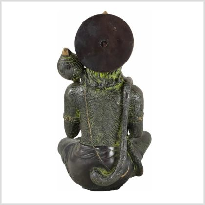 Sitzender Hanuman aus Messing Hinten