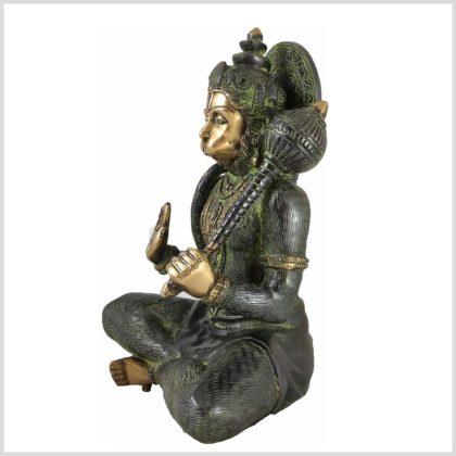 Sitzender Hanuman aus Messing Seitenansicht 2