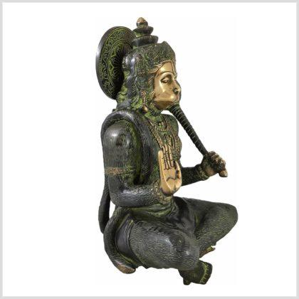 Sitzender Hanuman aus Messing Seitenansicht