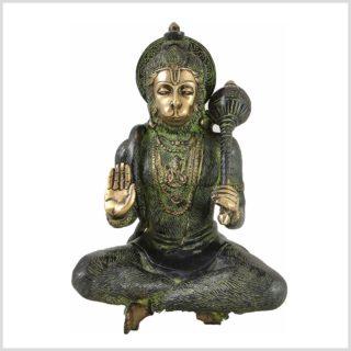 Sitzender Hanuman aus Messing Vorderansicht