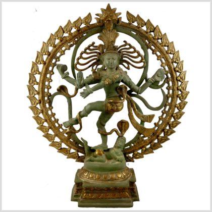 Tanzender Shiva im Feuerkreis Nepalmintgrün Messing Vorderansicht