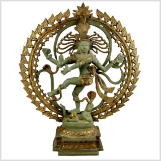 Tanzender Shiva im Feuerkreis Nepalmintgrün Messing Beleuchtet