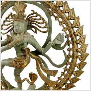 Tanzender Shiva im Feuerkreis Nepalmintgrün Messing Rechte Seite