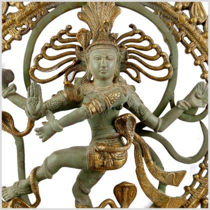 Tanzender Shiva im Feuerkreis Nepalmintgrün Messing Nahansichgt
