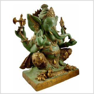 Ganesha Nepalesisch Mintgrün verziert 21KG Messing 55cm Seitenansicht Rechts