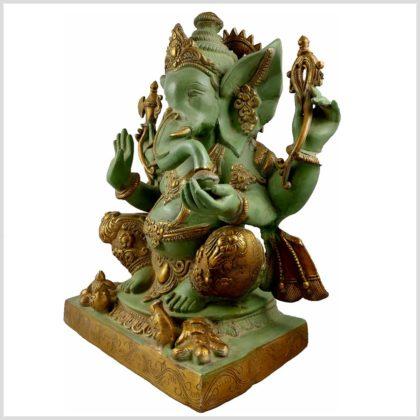 Ganesha Nepalesisch Mintgrün verziert 21KG Messing 55cm Seitenansicht Links