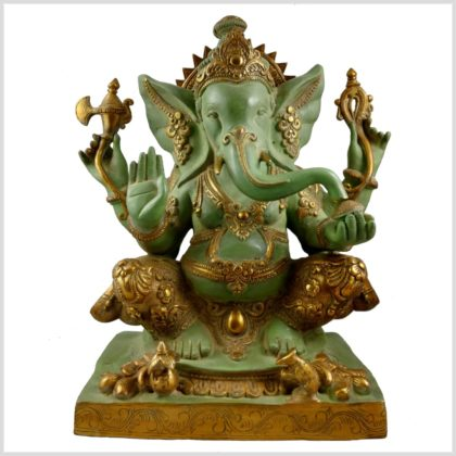 Ganesha Nepalesisch Mintgrün verziert 21KG Messing 55cm Frontansicht