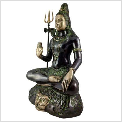 Sitzender Shiva aus Messing Seite Rechts